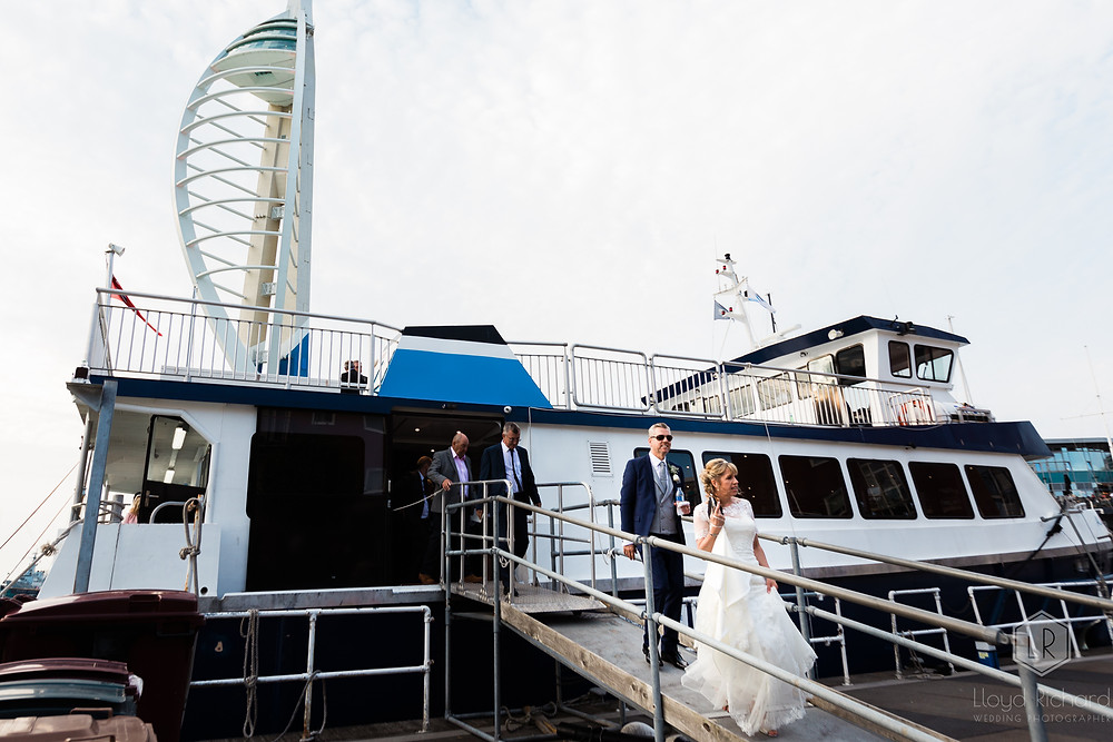 bride and groom leaving the Ali Cat boat