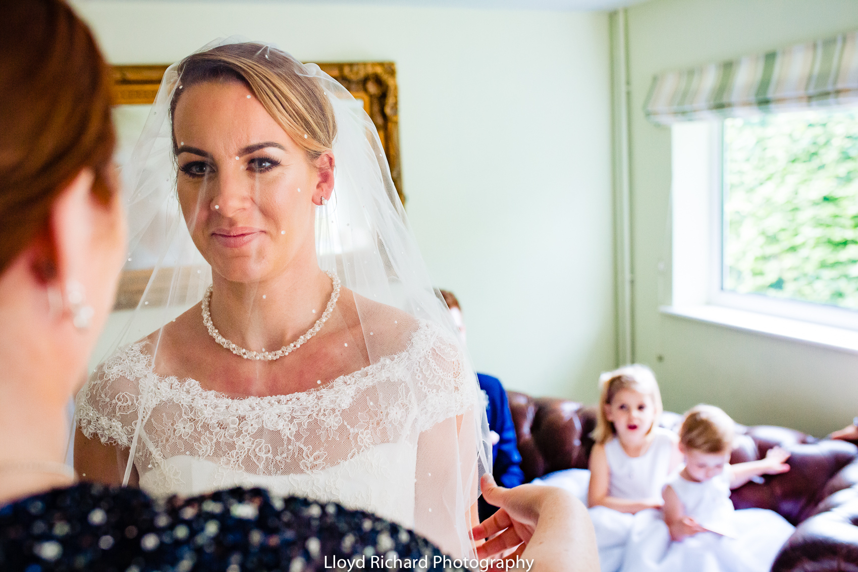 bride ready for the wedding at Pitt Hall Barn