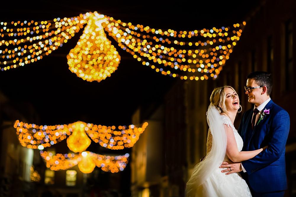 Christmas lights wedding photography