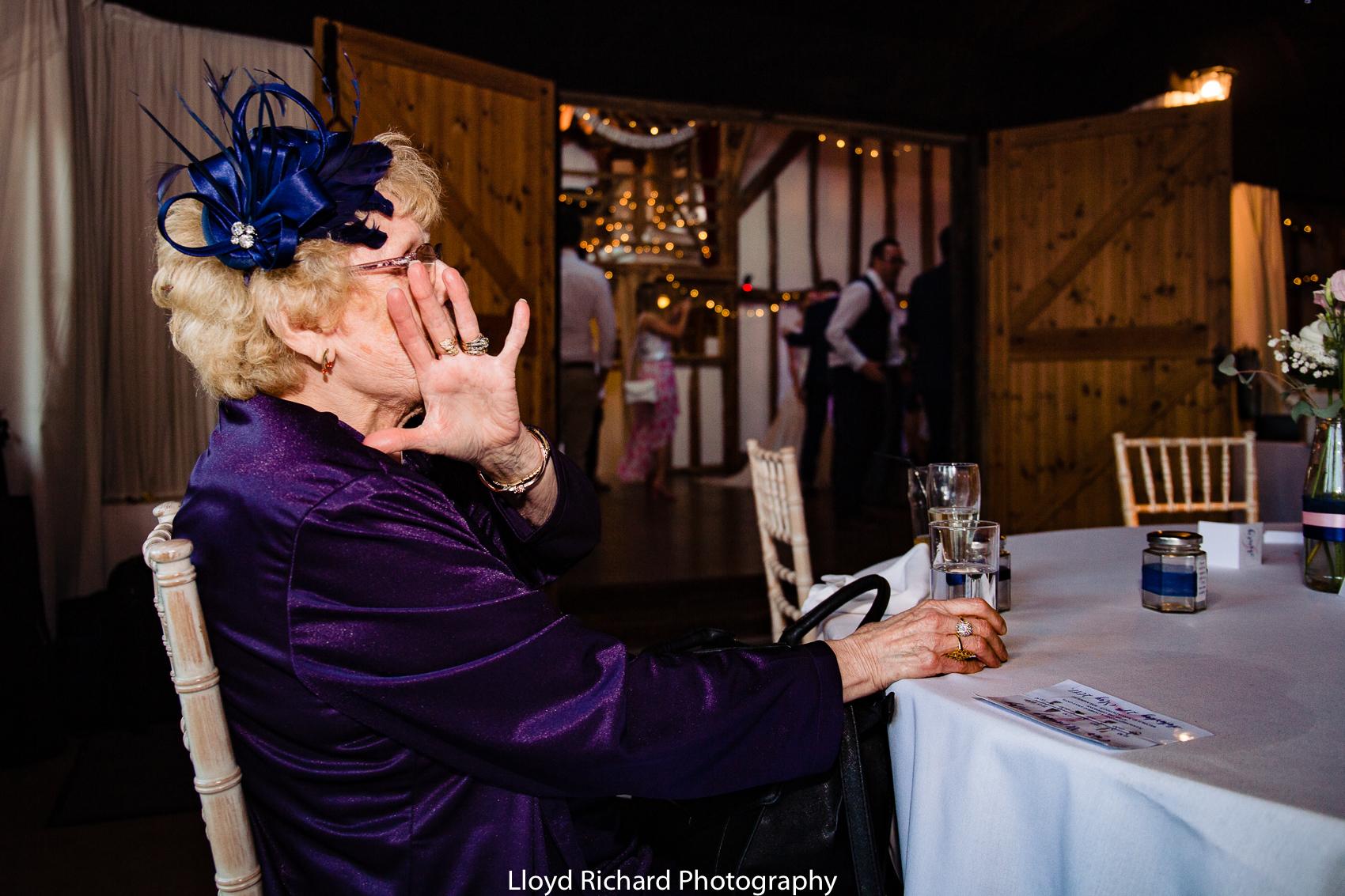 nan at wedding not wanting an photo to be taken