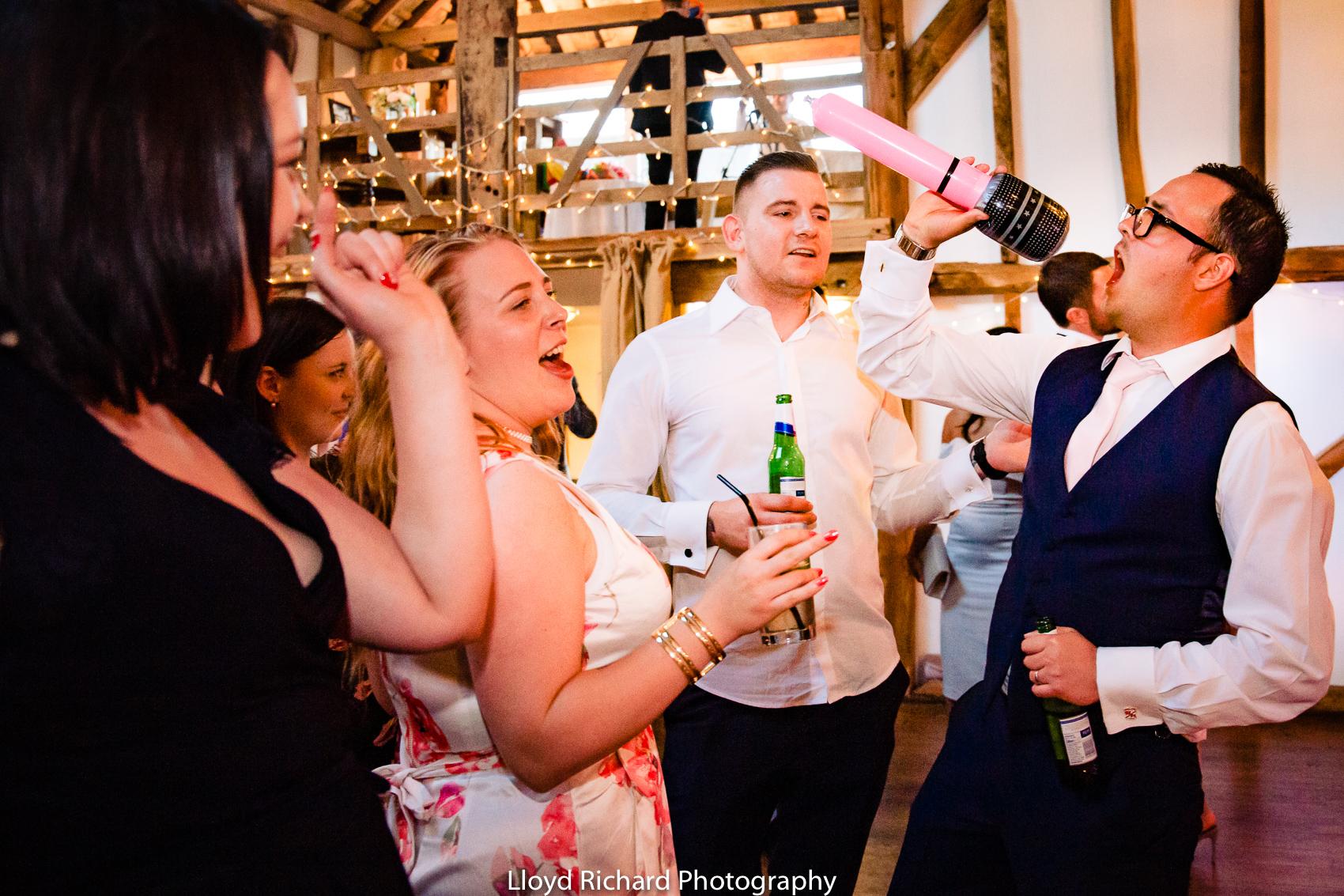 wedding guests partying at Pitt Hall Barn