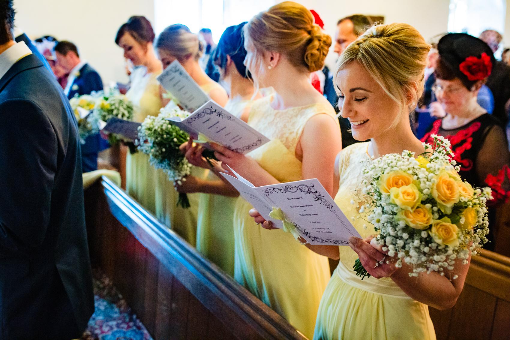 bridesmaid singing at St Leonard's Church Sherfield on Loddon