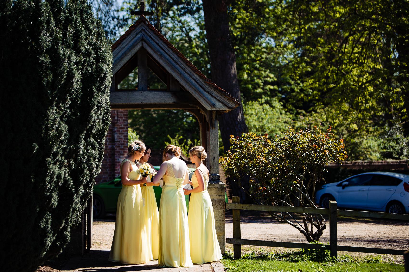 Bridesmaids at St Leonard's Church Sherfield on Loddon
