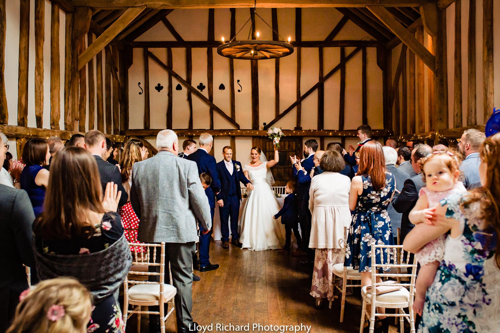 bride celebrating wedding at Pitt Hall Barn