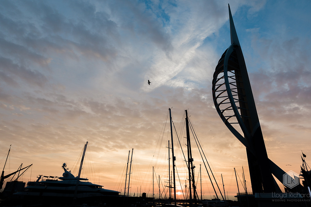 Spinnaker tower at sunset for a wedding