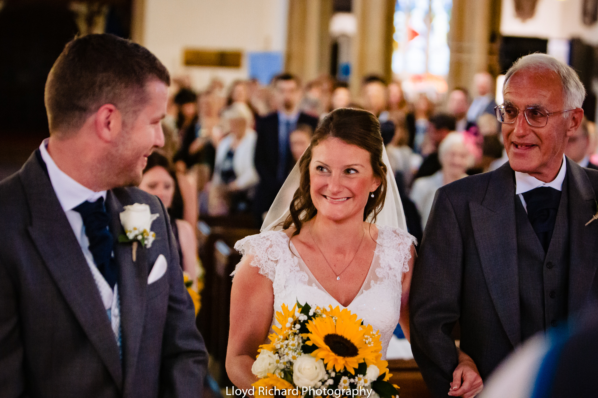 Happy bride at St Mary's church Gosport