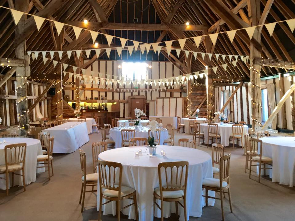 Spacious wedding reception at Clock BArn