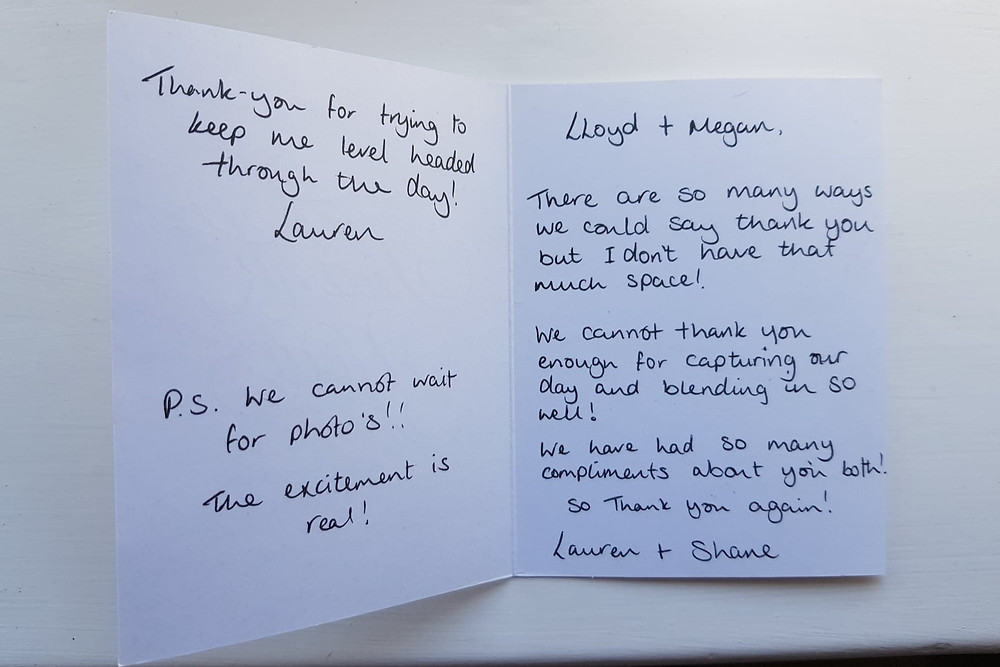 Thank you card Hampshire wedding Photographer