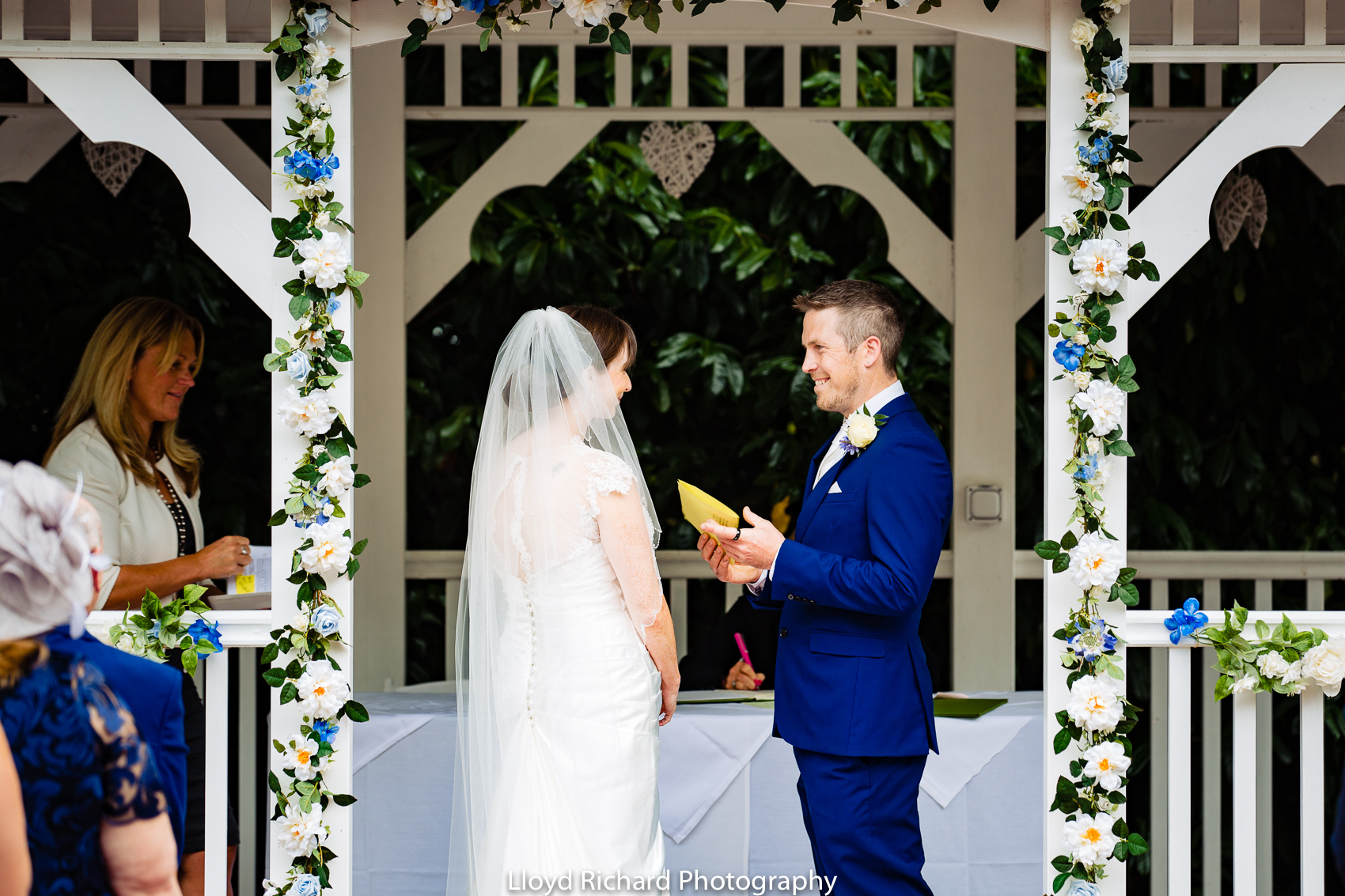happy groom outside at Moorhill House Hotel wedding