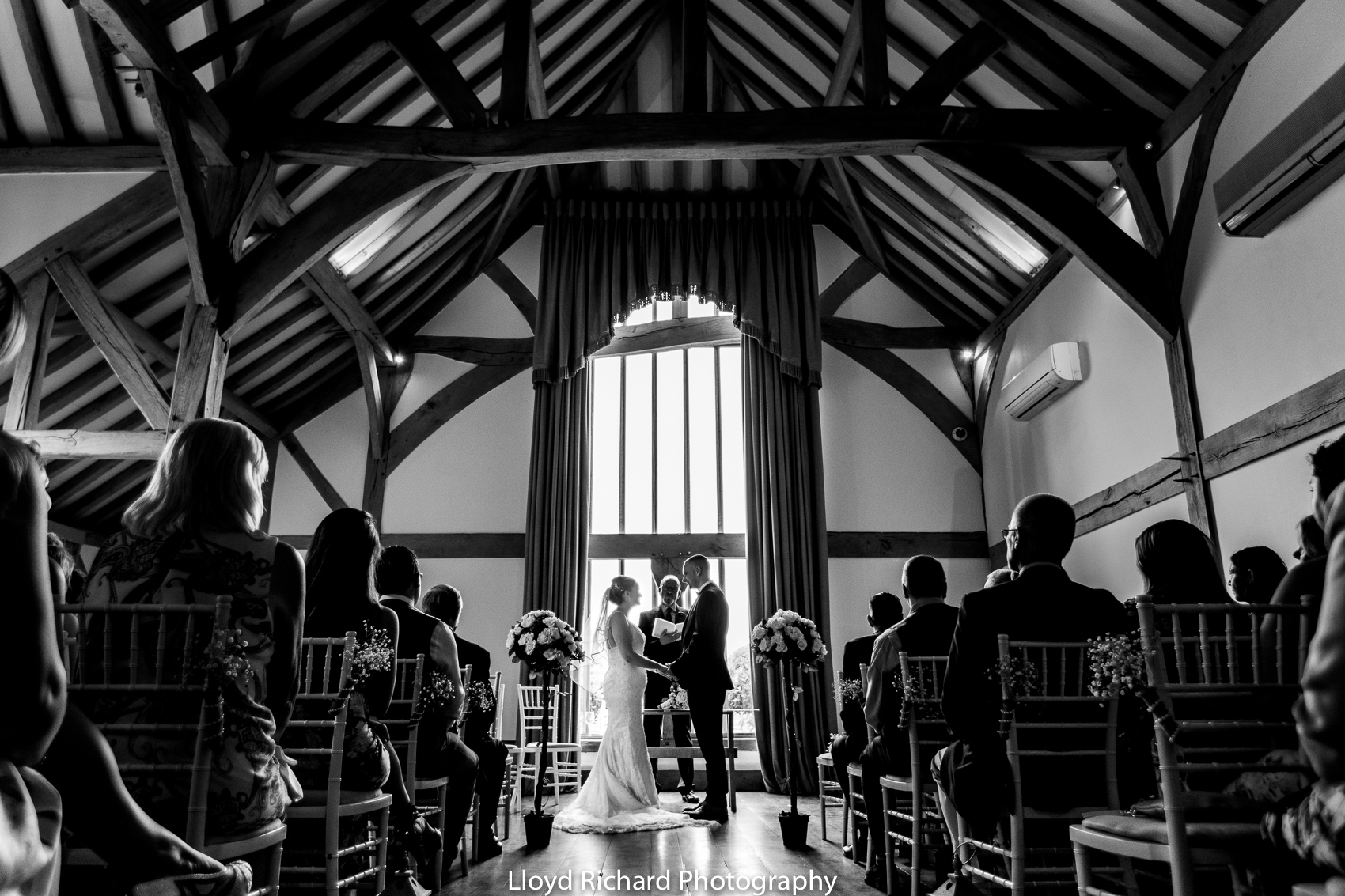The Music room during wedding ceremony at Cain Manor