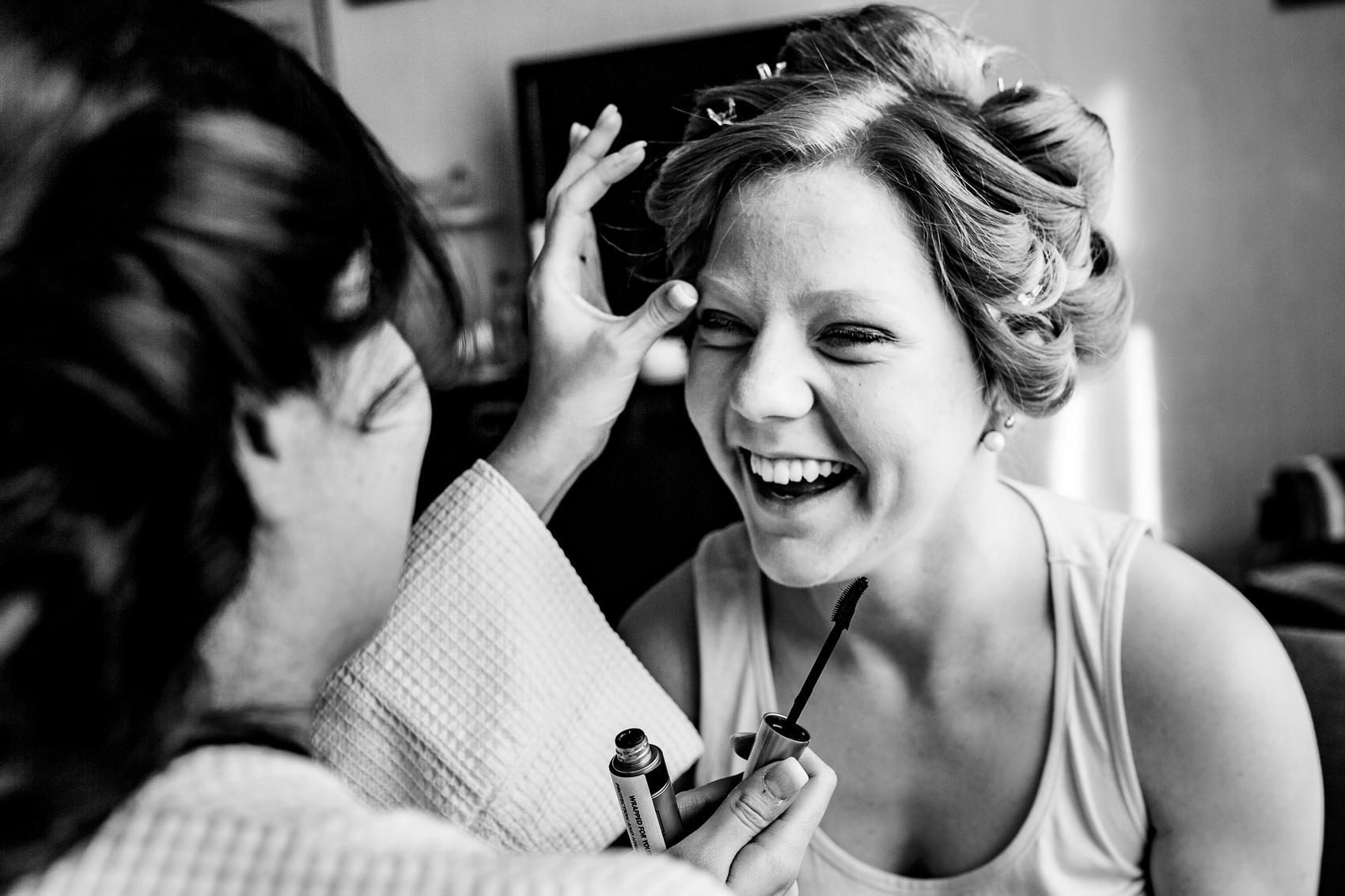 bridesmaid laughing at Audleys Wood Jane Austen Suite