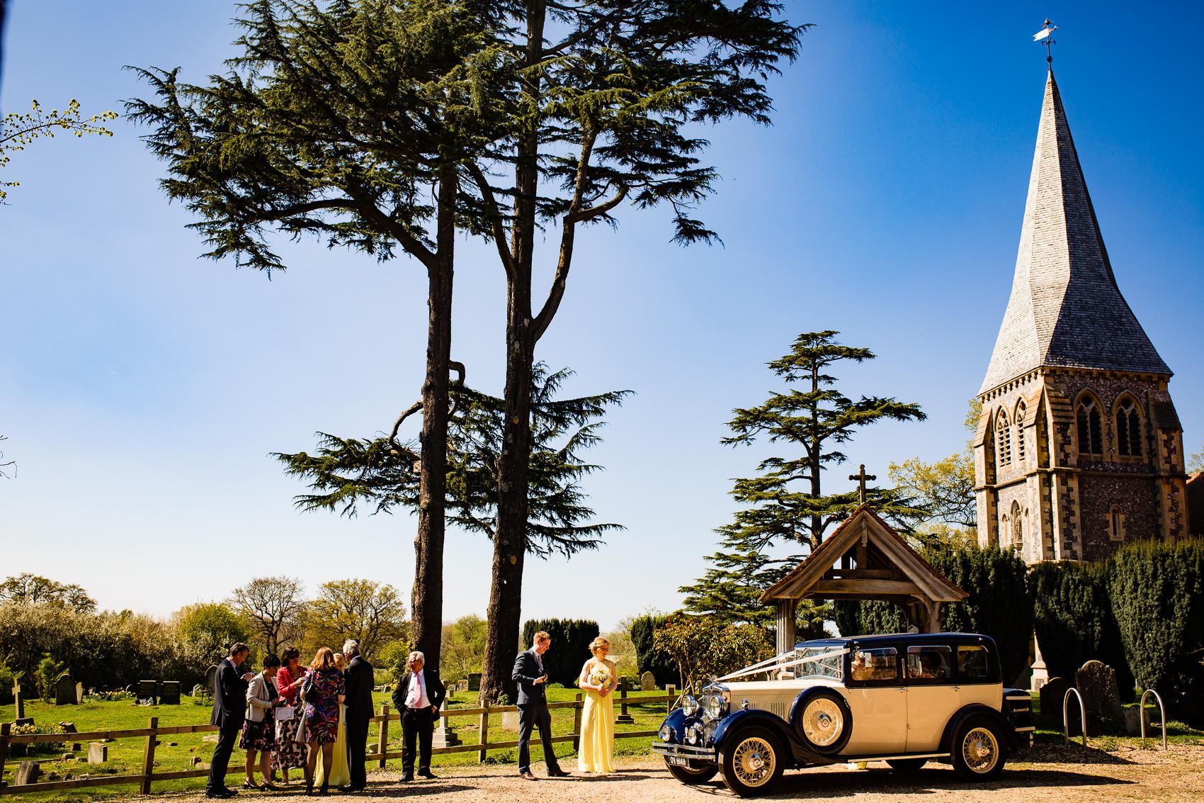 wedding car at church wedding
