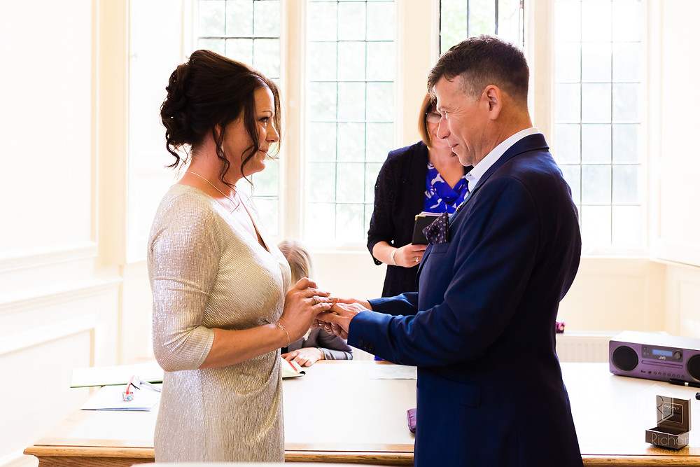 exchange of rings at Shaw House Wedding