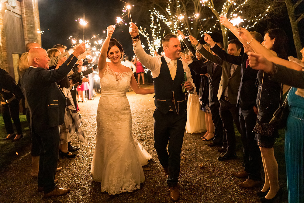 Tithe barn wedding - sparkler exit