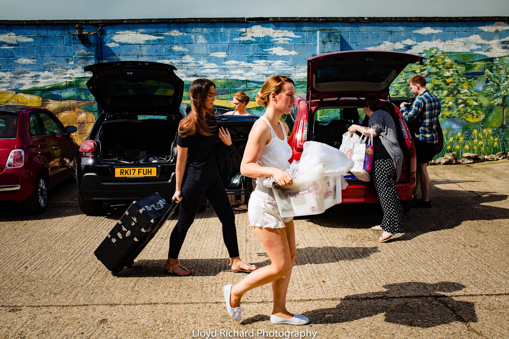 Bride arriving at Pitt Hall Barn