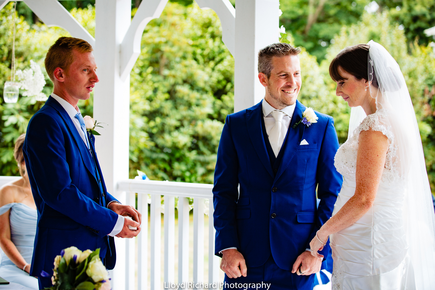 exchanging of rings at at Moorhill House Hotel wedding