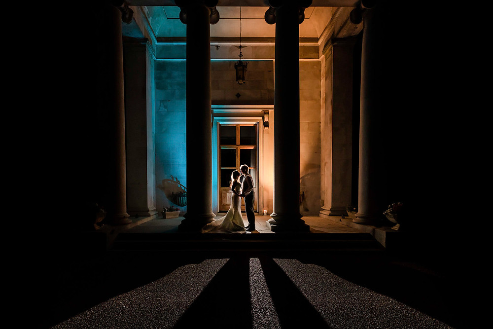 couple night photography Wedding Reception at Rookesbury Park, Wickham