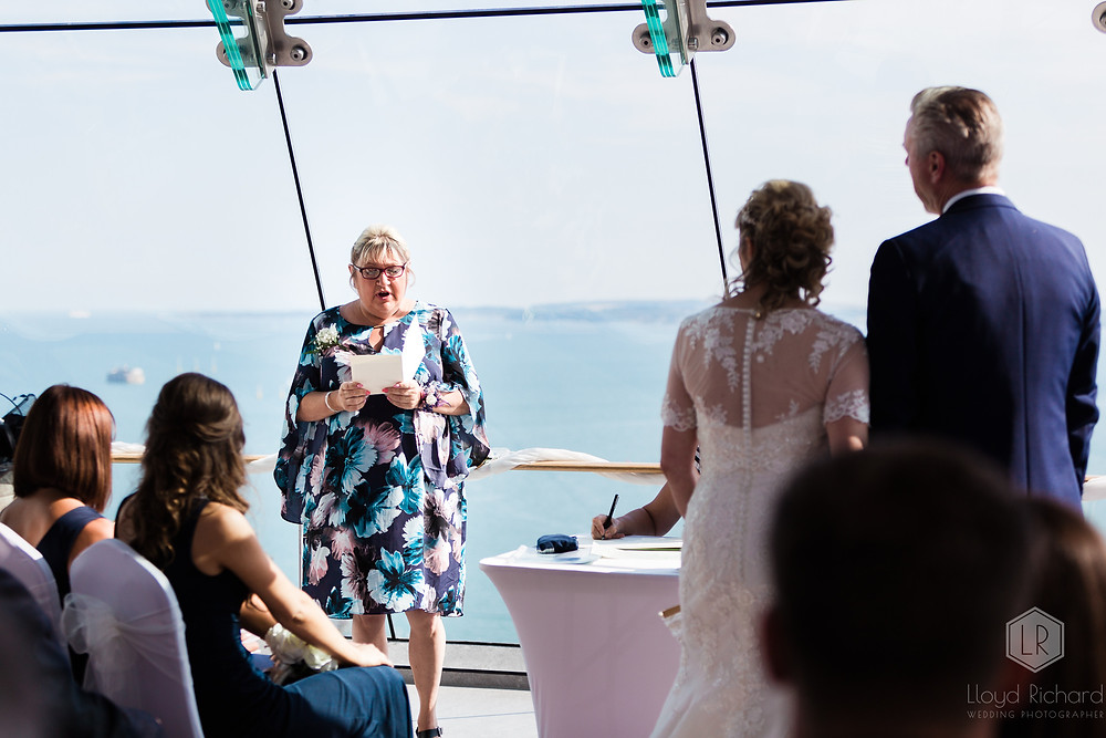 wedding reading at spinnaker tower