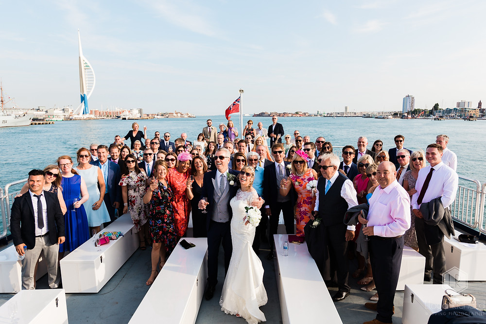 Wedding day trip on a boat on Portsmouth Harbour