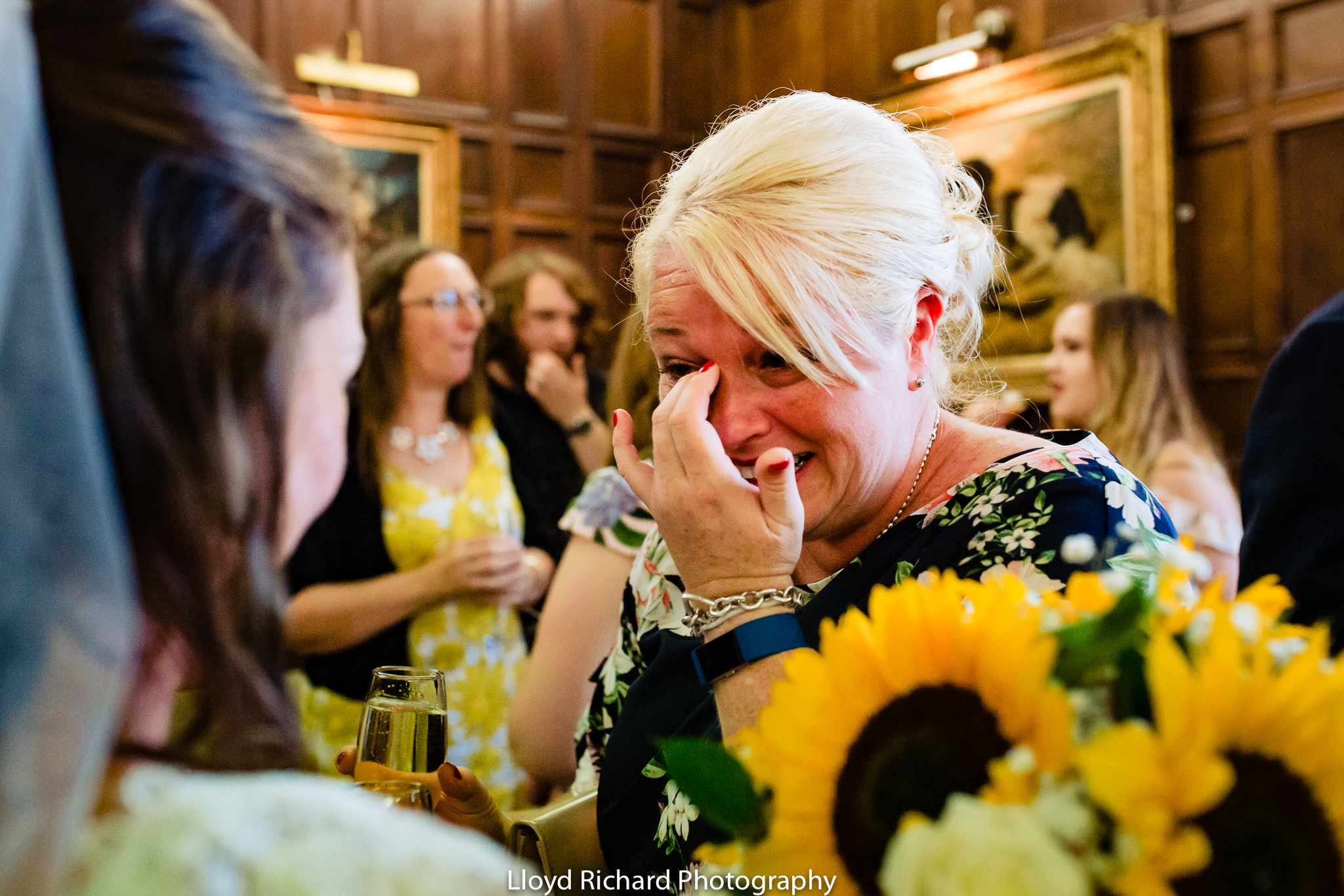wedding guest crying at De Vere New Place Shirrell Heath