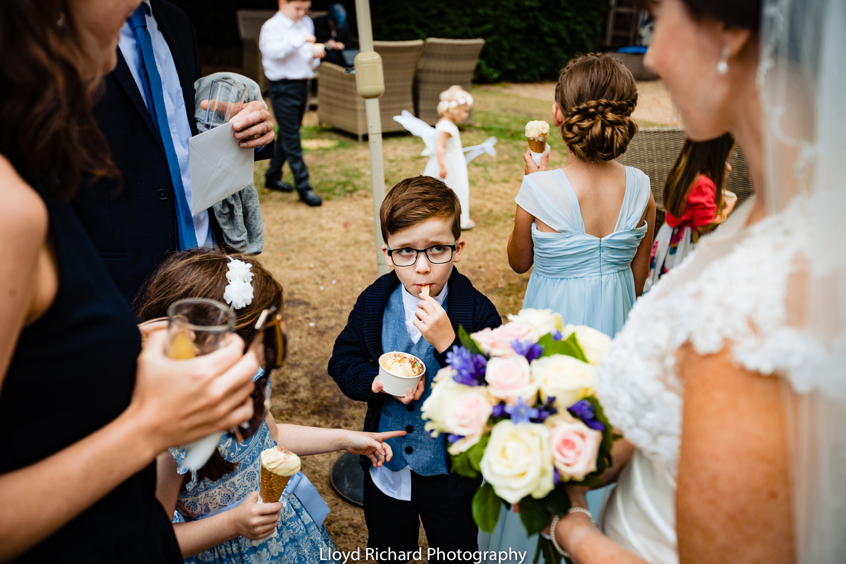 guests eating ice cream at Moorhill House Hotel wedding