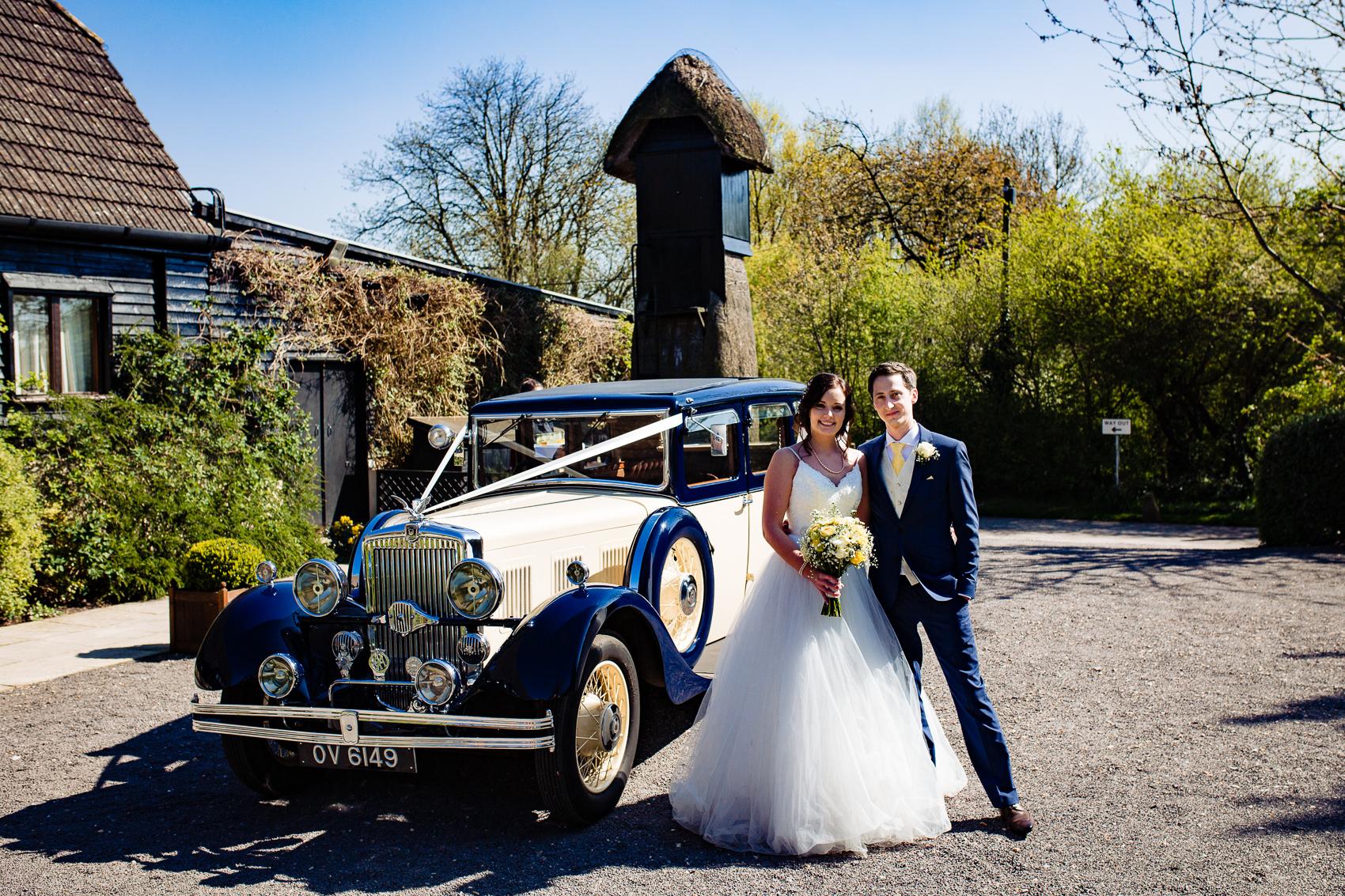 Bride and Groom at Clock Barn