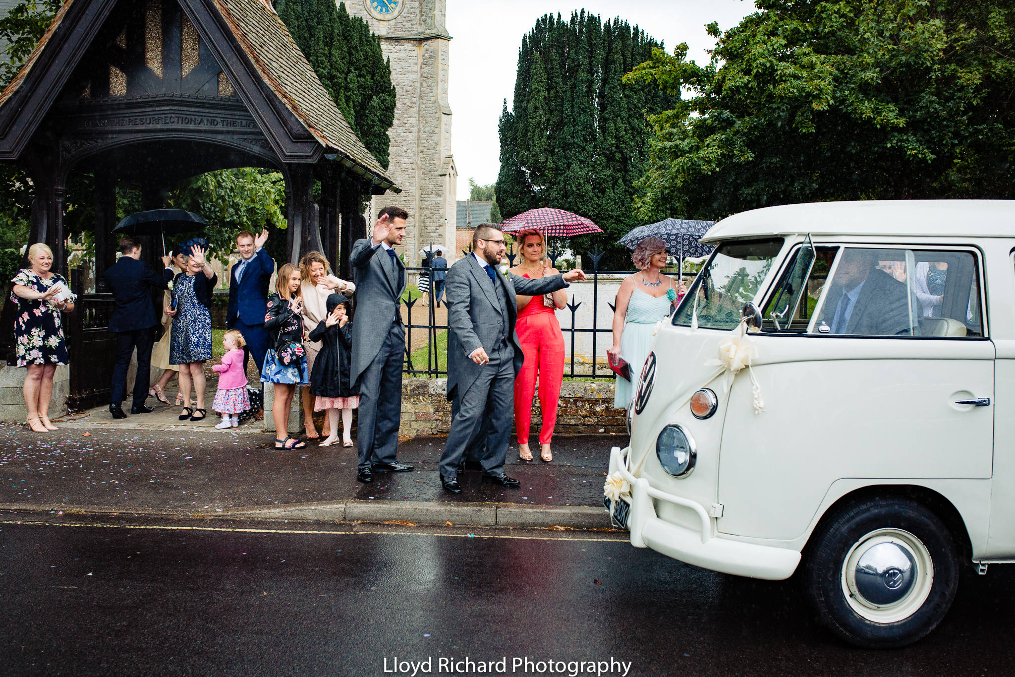 bridal camper van leaving St Mary's church Gosport