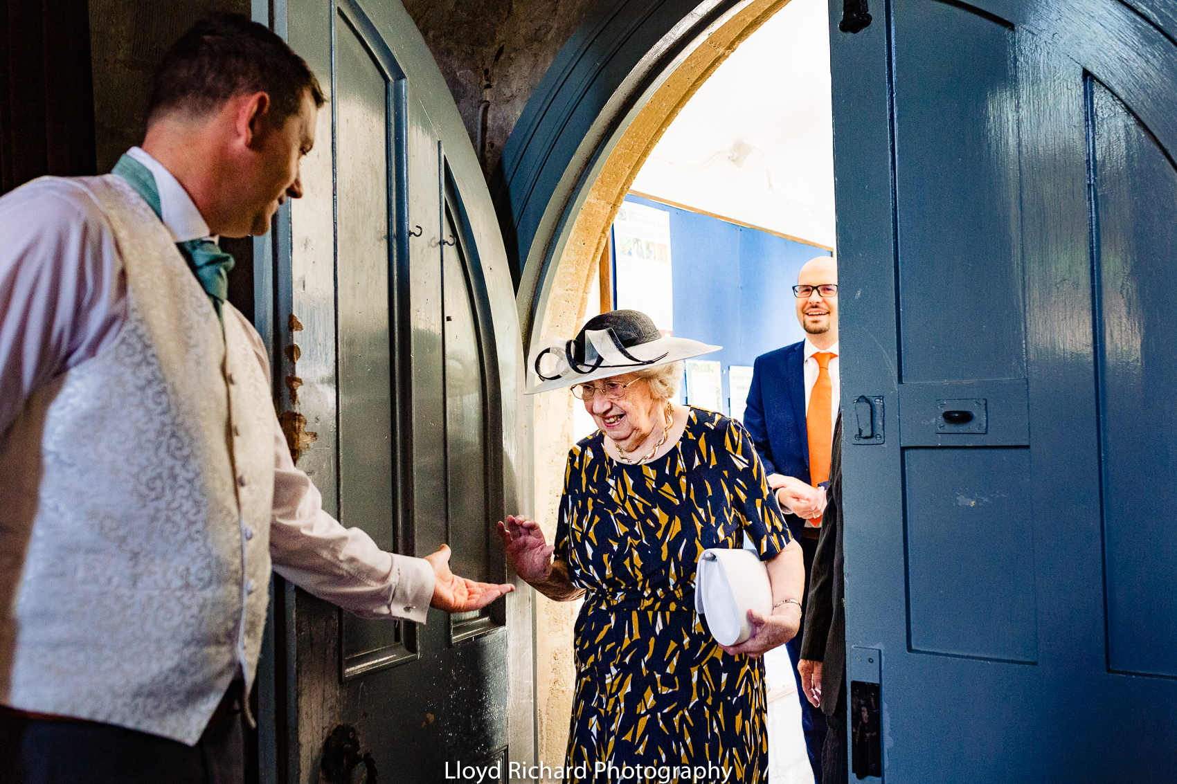 grandmother arriving at Beaulieu Abbey Domus