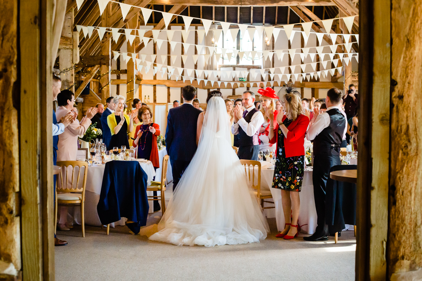 bride and groom entrance at Clock Barn