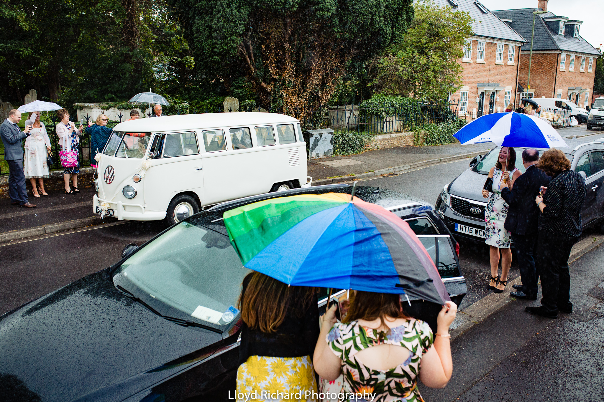 rainy wedding at St Mary's church Gosport