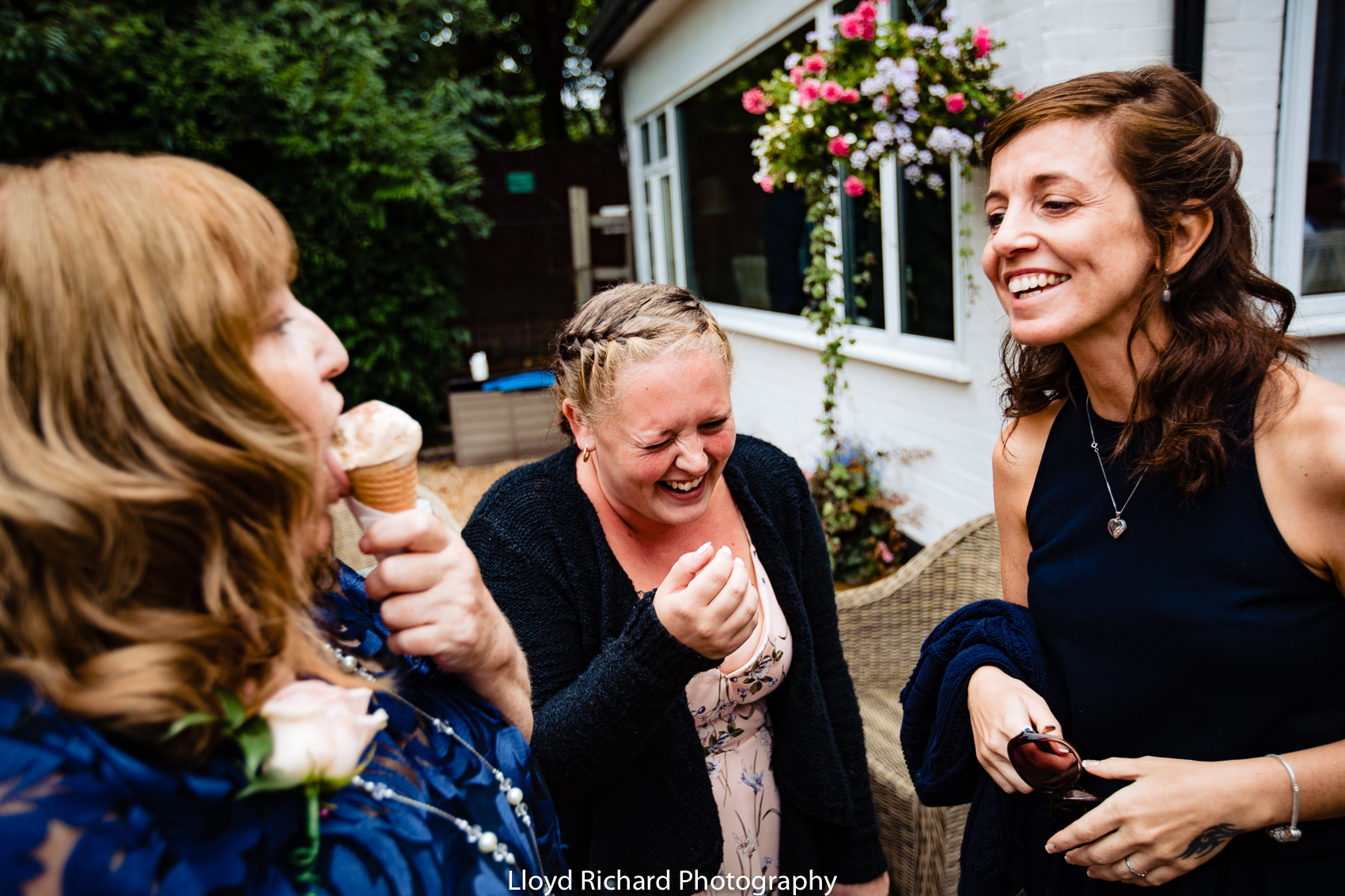 laughing wedding guest at Moorhill House Hotel wedding