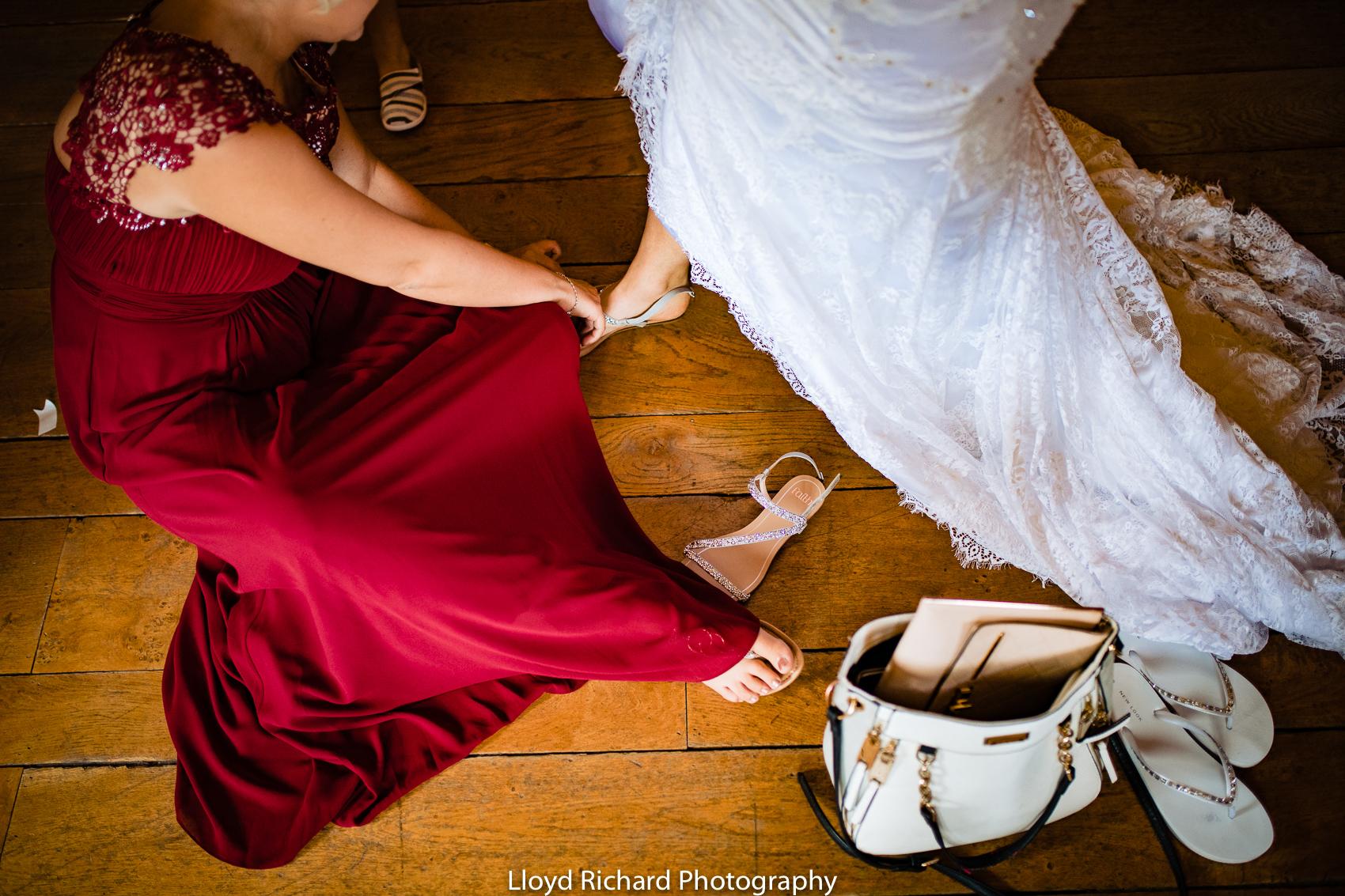 Wedding shoes at Cain Manor