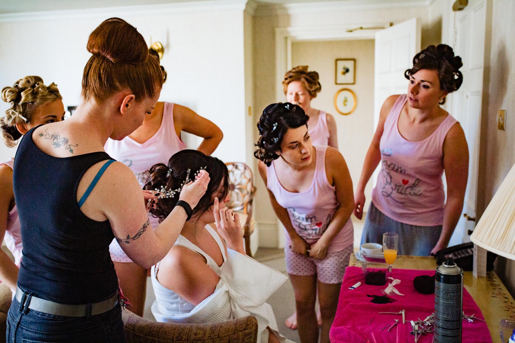 Bridal prep at Audleys Wood Jane Austen Suite