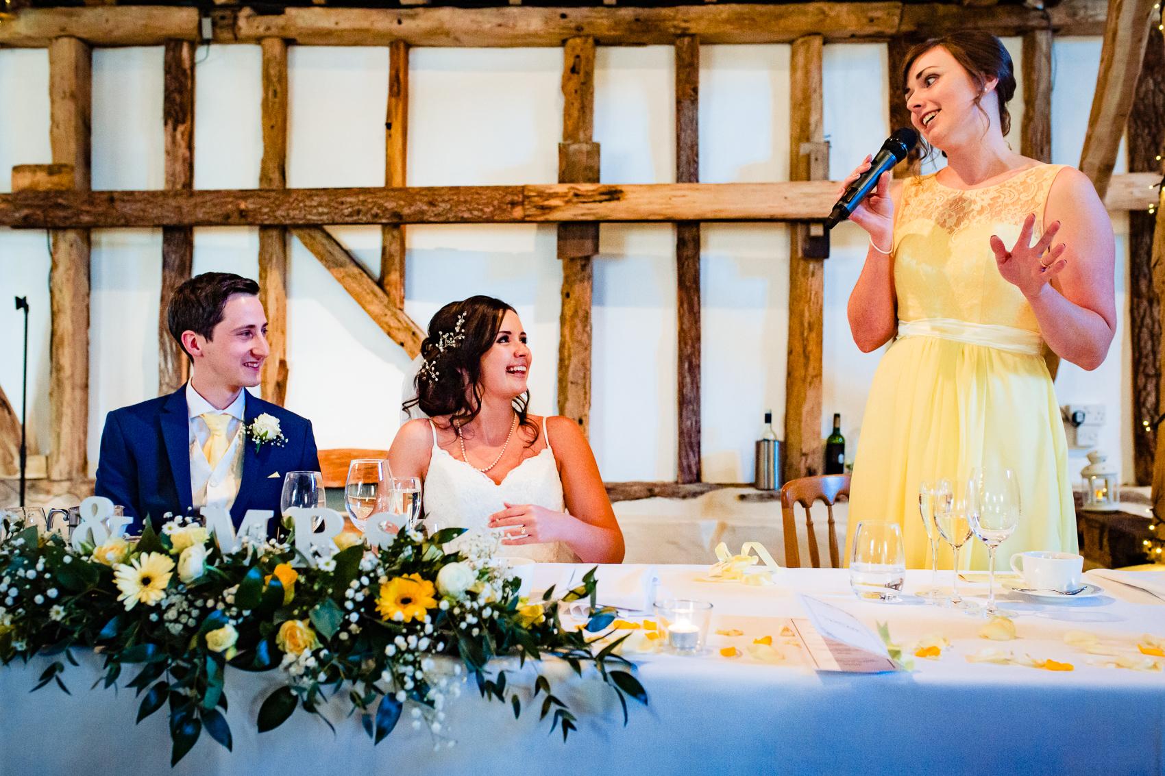 wedding speeches at Clock Barn