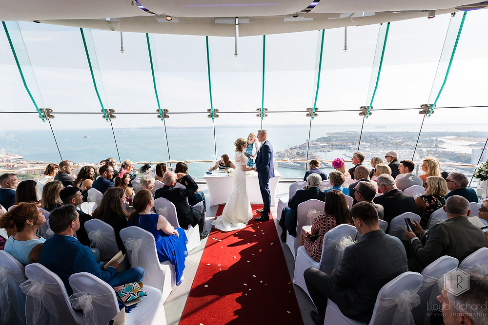 view from spinnaker tower wedding