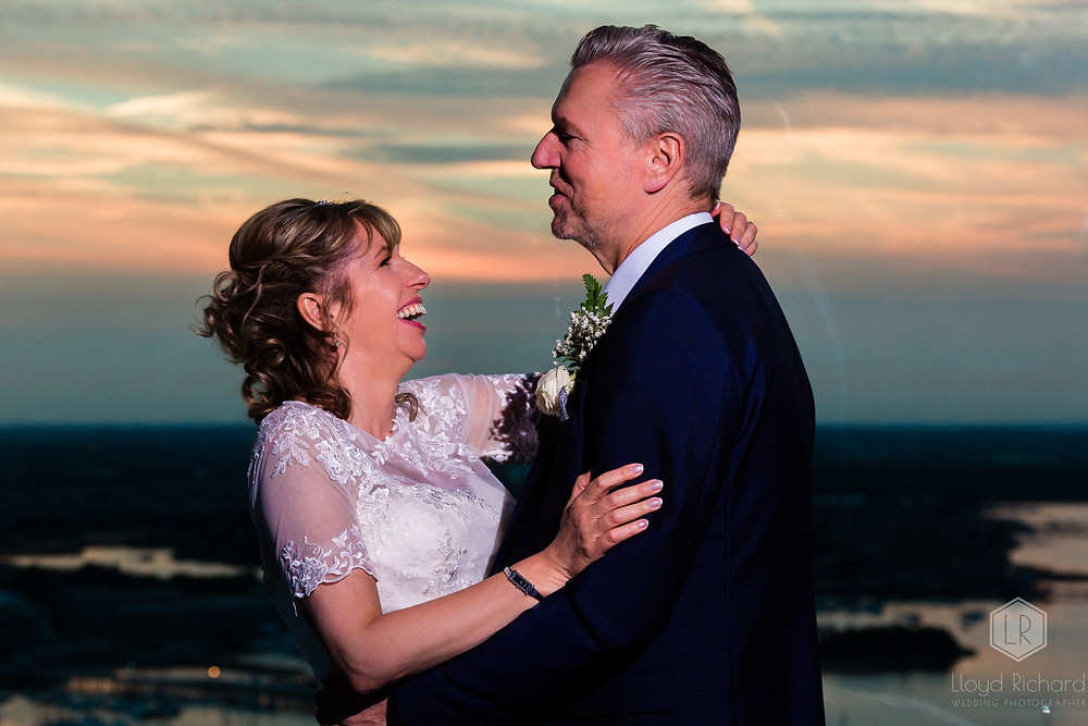 Sunset shots at spinnaker tower wedding