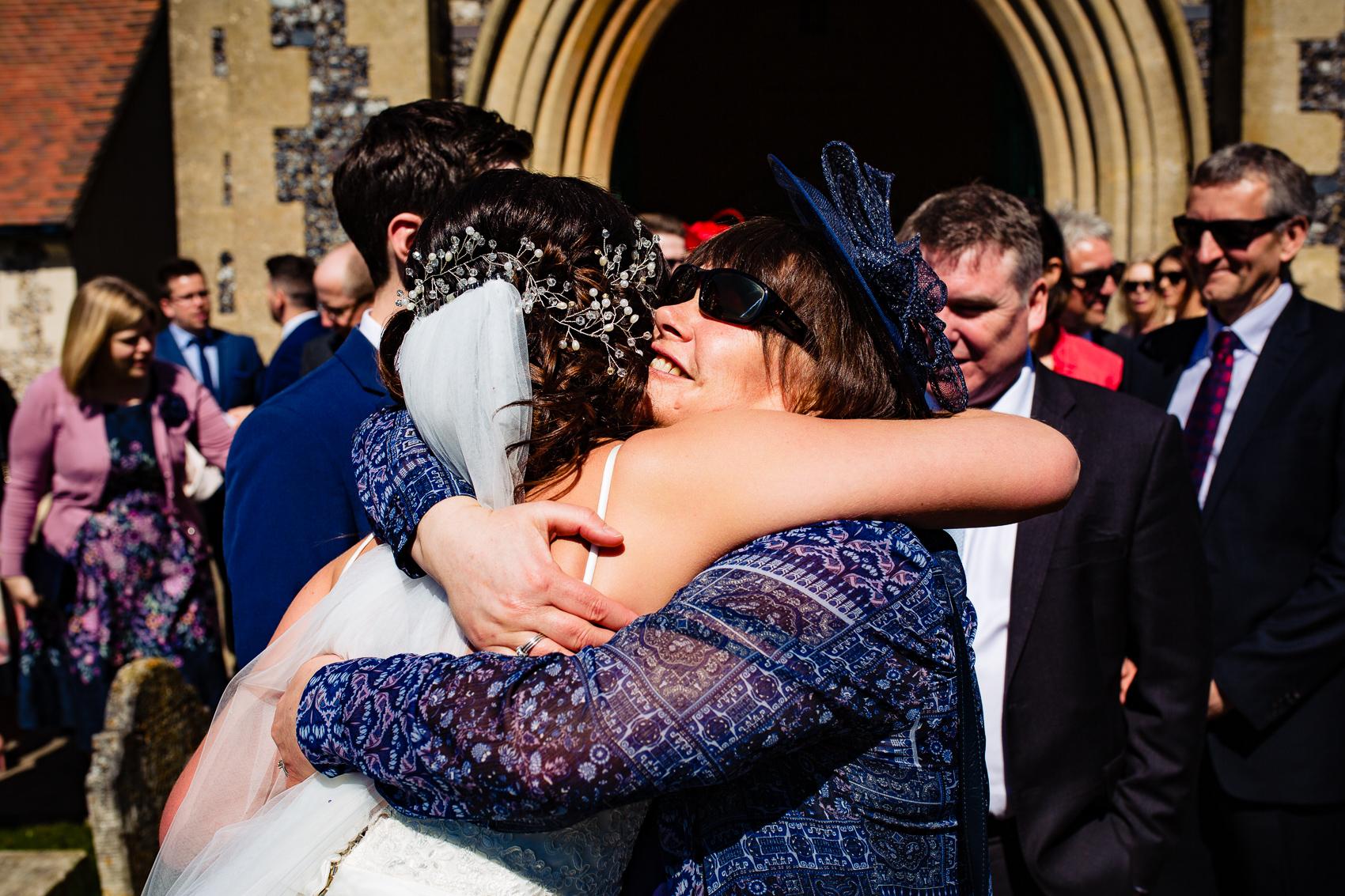 hugging a bride