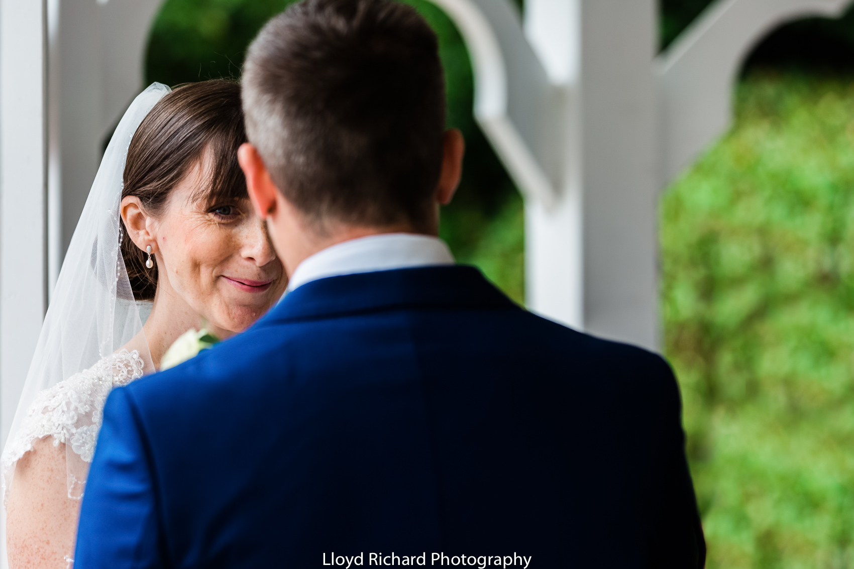 happy bride outside at Moorhill House Hotel wedding
