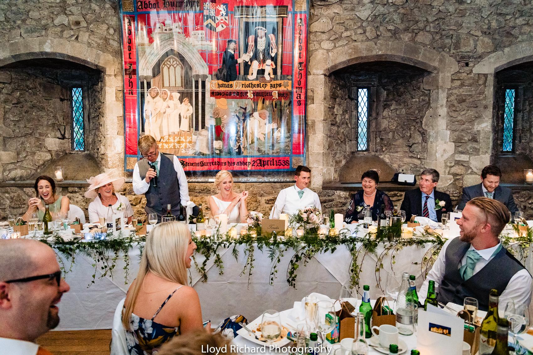 wedding speeches at Beaulieu Abbey Domus