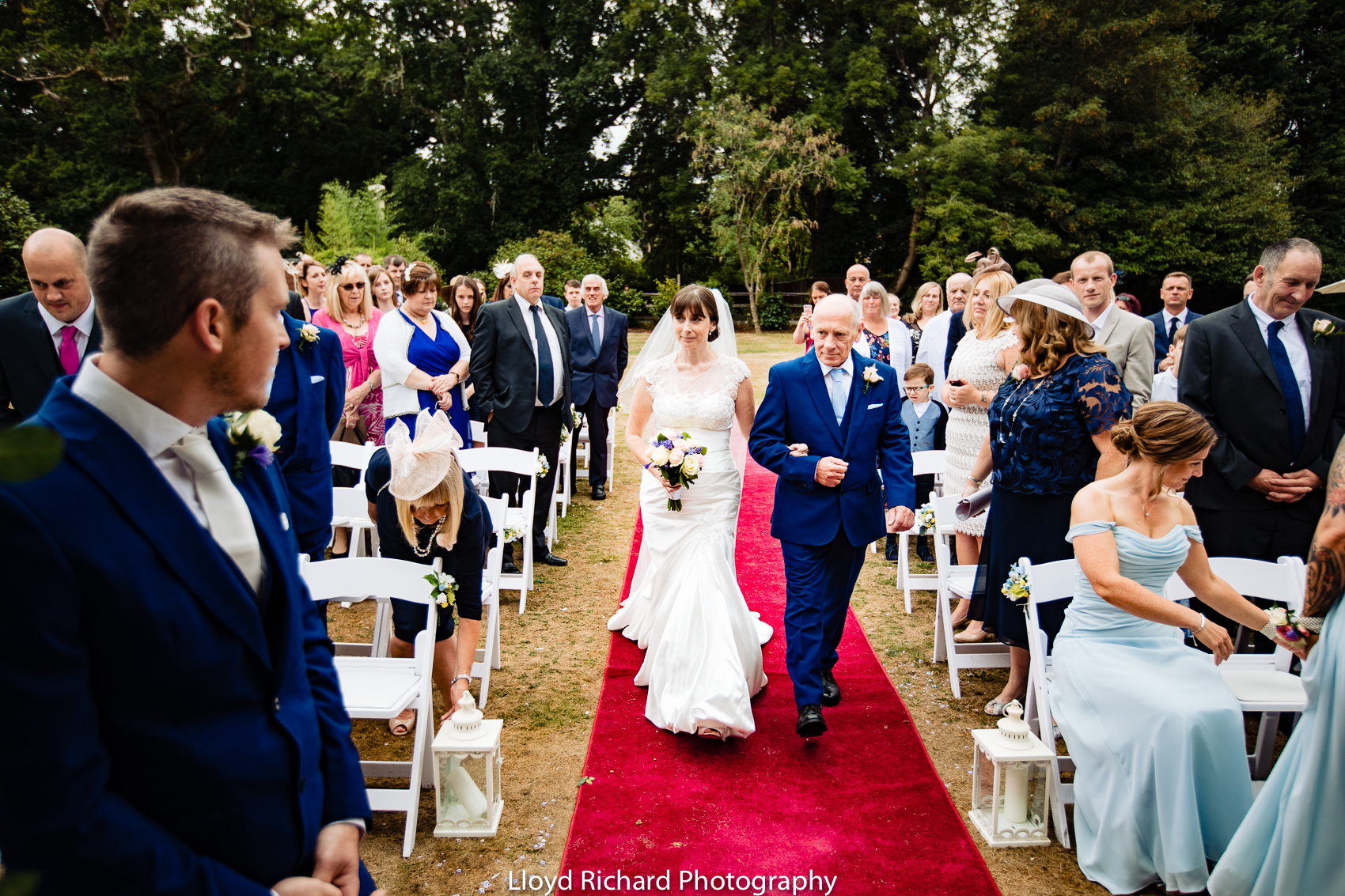 bride and groom outside at Moorhill House Hotel