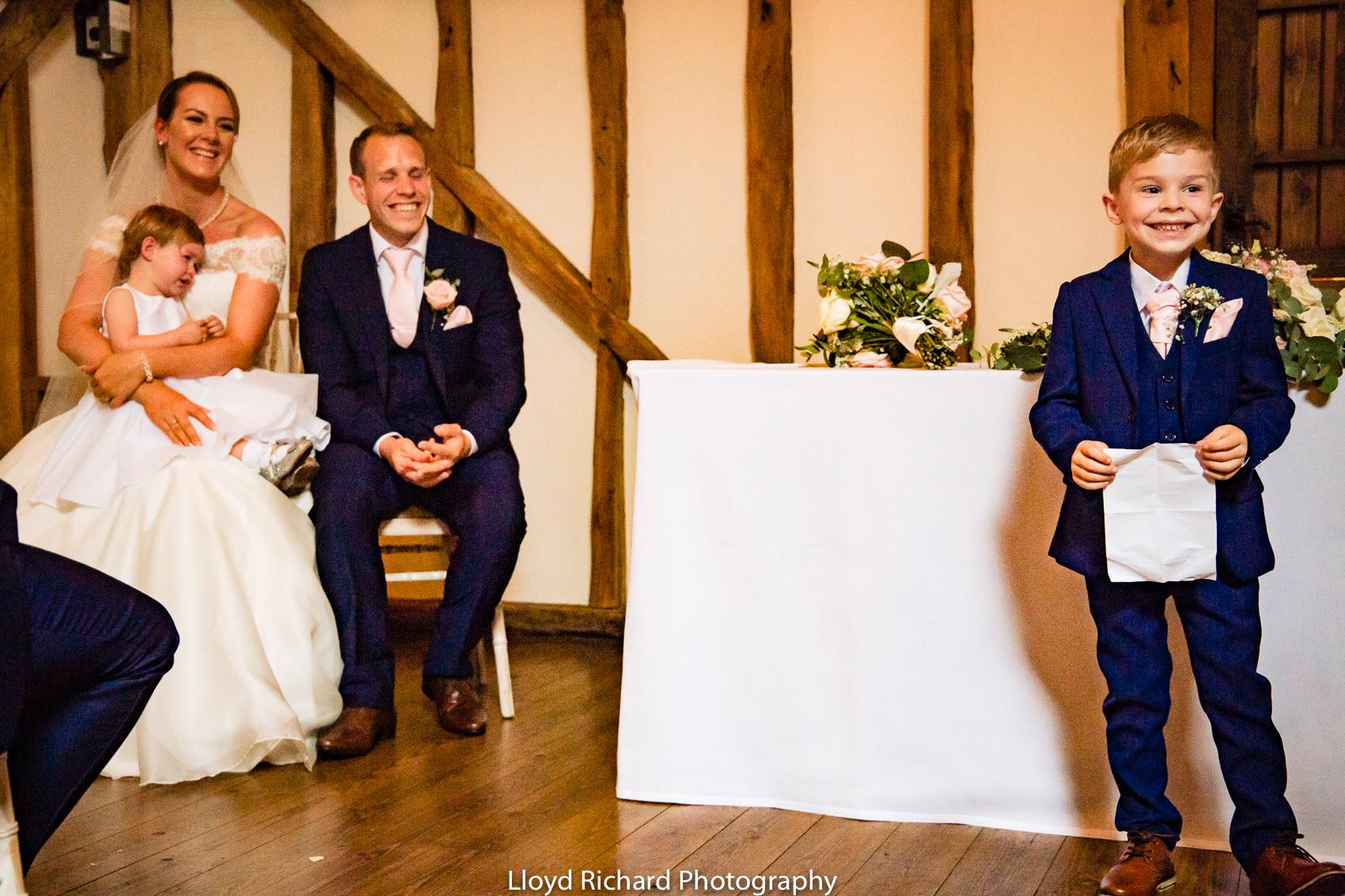 wedding reading at at Pitt Hall Barn