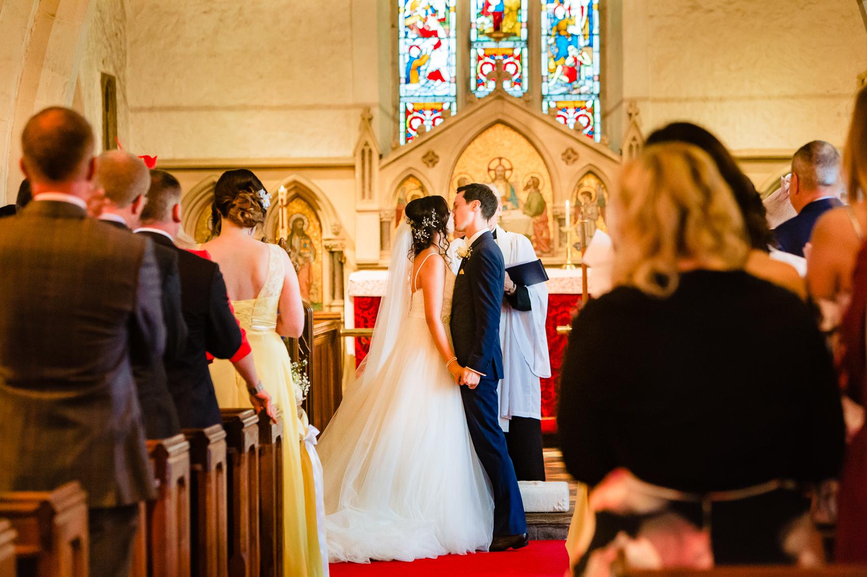 first kiss at St Leonard's Church Sherfield on Loddon