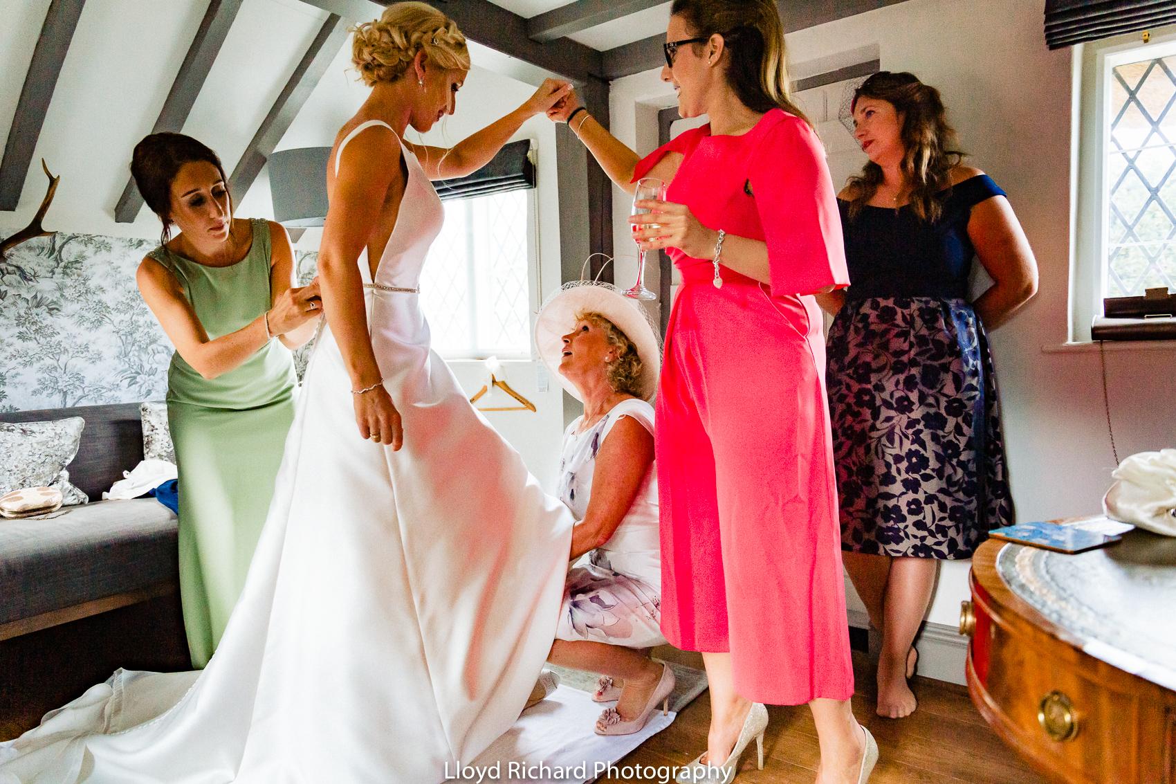 wedding dress in Chestnut Cottage in Beaulieu