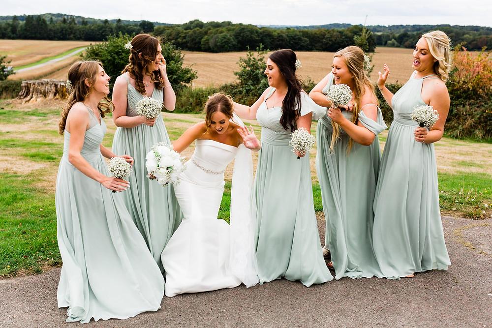 bridal party dancing at Wedding Reception at Rookesbury Park, Wickham
