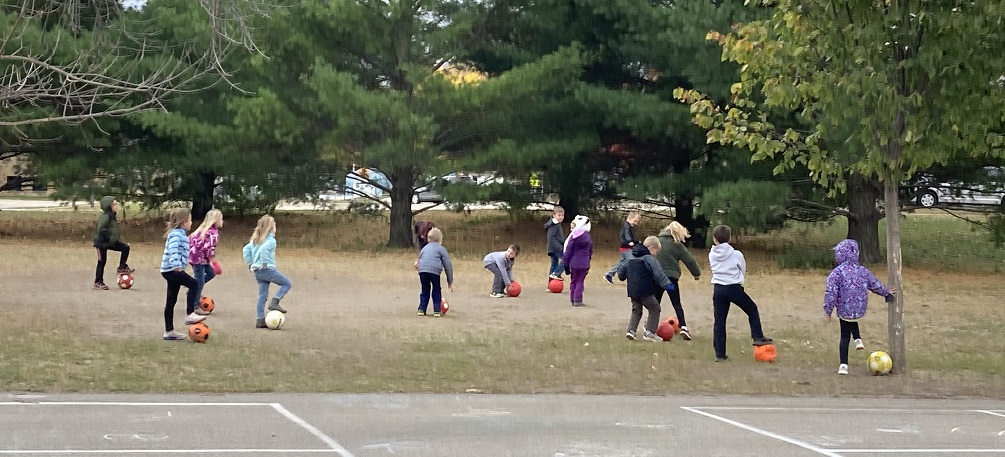 students playing in PE 2020
