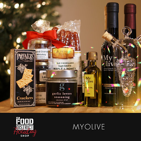 HOLIDAY GOURMET PANTRY GIFT BASKET BY MYOLIVE