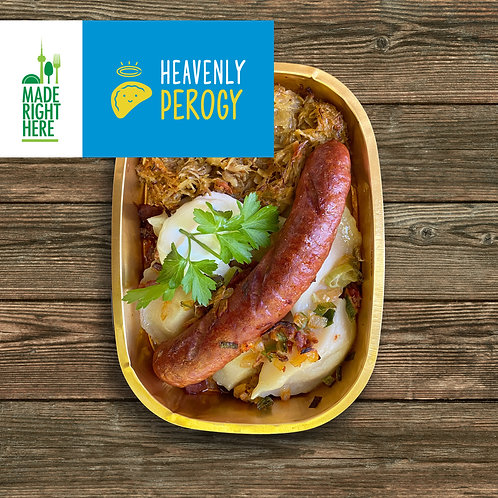 UKRAINIAN PEROGY + SAUSAGE BY HEAVENLY PEROGY