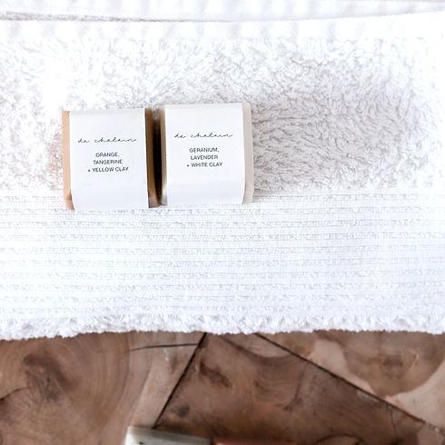 de Chalain soap on towel