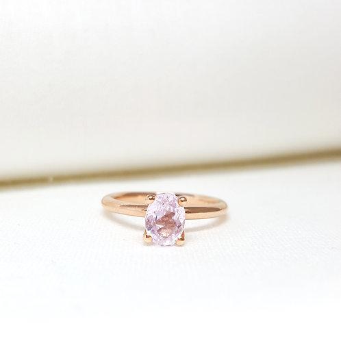 Kunzite Solitaire Engagement Ring