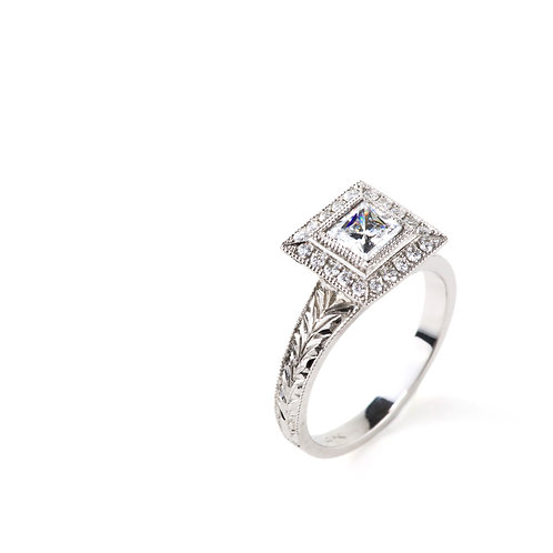 Vintage Princess cut Halo Engagement Ring